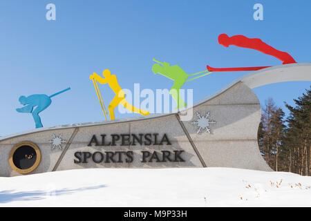 The entrance of the sport arena at Alpensia Resort in South Korea.  The Alpensia Resort is a ski resort and a tourist attraction. It is located on the territory of the township of Daegwallyeong-myeon, in the county of Pyeongchang, hosting the Winter Olympics in February 2018.  The ski resort is approximately 2.5 hours from Seoul or Incheon Airport by car, predominantly all motorway.   Alpensia has six slopes for skiing and snowboarding, with runs up to 1.4 km (0.87 mi) long, for beginners and advanced skiers, and an area reserved for snowboarders. While the resort is open year-round, the - Stock Photo