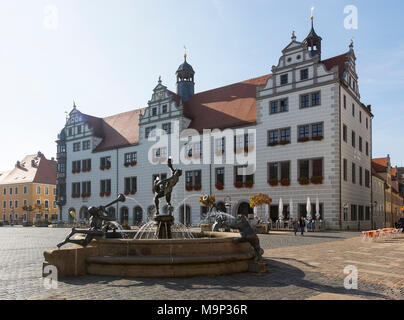 Fountain on the market square in front of the town hall, Torgau, Saxony, Germany - Stock Photo