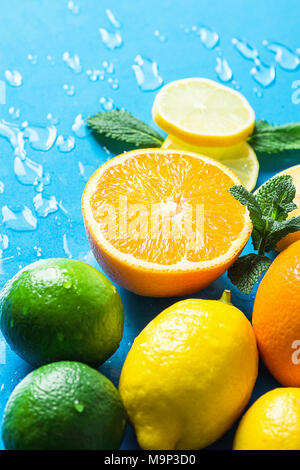 Variety of Citrus Organic Fruits Whole and Halved Oranges, Sliced Lemons Lime Fresh Mint on Light Blue Background with Water Drops. Morning Sunlight.  - Stock Photo
