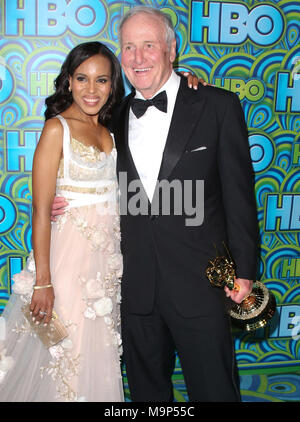 LOS ANGELES, CA - SEPTEMBER 22: Kerry Washington_Jerry Weintraub attends HBO's Annual Primetime Emmy Awards Post Award Reception at The Plaza at the Pacific Design Center on September 22, 2013 in Los Angeles, California.   People:  Kerry Washington_Jerry Weintraub - Stock Photo