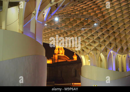 SEVILLA,SPAIN-OCTOBER 17: Metropol Parasol in Plaza de la Encarnacion, the biggest wooden structure in Europe - Stock Photo