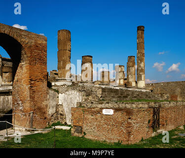 Pompeii. Ancient Roman city. Temple of Jupiter or Capitolium. Built 2nd century BC. Campania, Italy. - Stock Photo