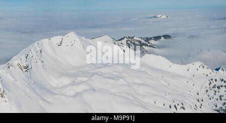 Panorama in winter, snow-covered mountains above cloud blanket, Nebelhorn, 2224m, Rubihorn, 1957m and Grünten, 1783m - Stock Photo