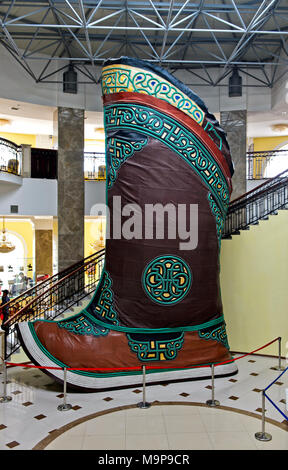 Traditional Mongolian boot, largest shoe in the world, in Genghis Khan Theme Park, Chinggis Khan Statue Complex, Tsonjin Boldog - Stock Photo