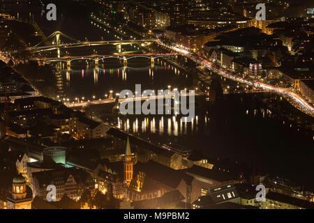 Night view, illuminated bridges over the Main, view from Main Tower, city view, Frankfurt am Main, Hesse, Germany - Stock Photo