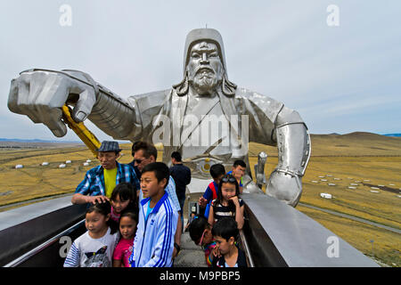 Visitors on the observation platform in the horse's head, equestrian statue of Genghis Khan, Genghis Khan Theme Park - Stock Photo