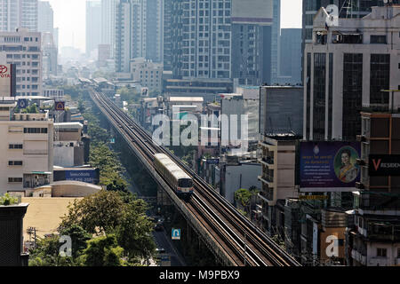 BTS Skytrain route in the Sukhumvit Road with station Phrom Pong, Khlong Toei, Bangkok, Thailand - Stock Photo