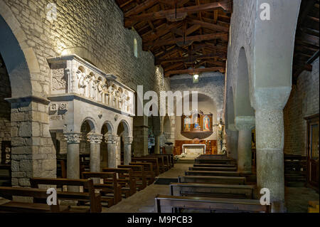 Pulpit and altar in the central nave of the pilgrimage church, Chiesa Santa Maria del Canneto, pilgrimage site - Stock Photo