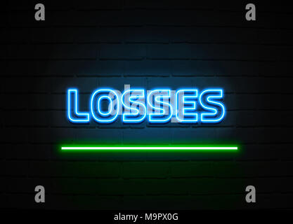 Losses neon sign - Glowing Neon Sign on brickwall wall - 3D rendered royalty free stock illustration. - Stock Photo