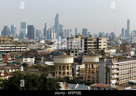 District of Pom Prap Sattru Phai and Skyline Siam Square, View from Golden Mountain, Bangkok, Thailand - Stock Photo