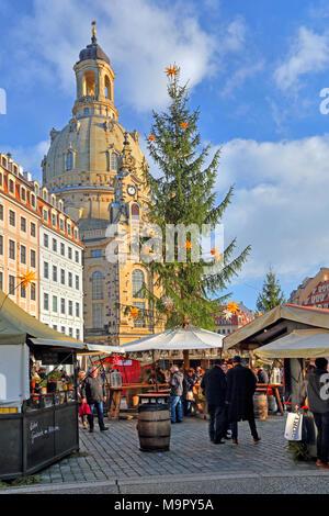 Christmas market on the Neumarkt with Frauenkirche, Dresden, Saxony, Germany - Stock Photo