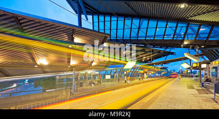Bus and tram station Neue Mitte, Oberhausen, Ruhr Area, North Rhine-Westphalia, Germany - Stock Photo
