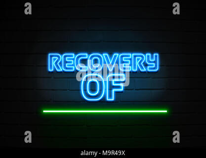 Recovery Of Losses neon sign - Glowing Neon Sign on brickwall wall - 3D rendered royalty free stock illustration. - Stock Photo