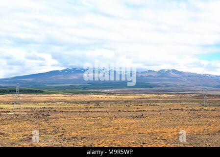View of Mt Ruapehu from desert road in New Zealand - Stock Photo
