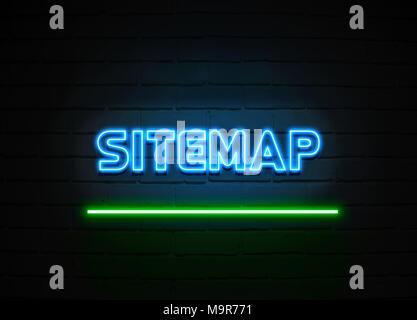 Sitemap neon sign - Glowing Neon Sign on brickwall wall - 3D rendered royalty free stock illustration. - Stock Photo