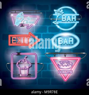 fast food and drinks with neon lights icons - Stock Photo