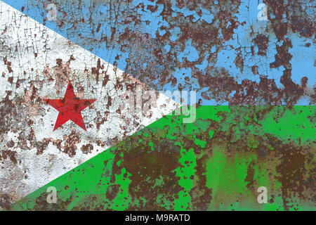 Old Djibouti grunge background flag - Stock Photo