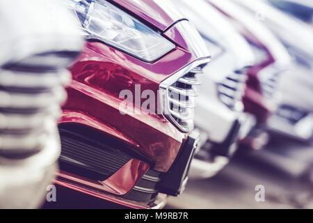 Automotive Industry Concept. New Cars Production Line. Brand New Vehicles on the Factory Lot. - Stock Photo