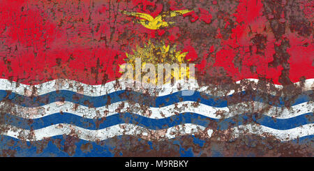 Old Kiribati grunge background flag - Stock Photo