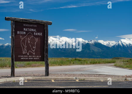 Information signs at the National Bison Range in Montana - Stock Photo