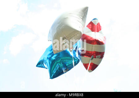 Stars and Stripe Balloons in Flight - Stock Photo