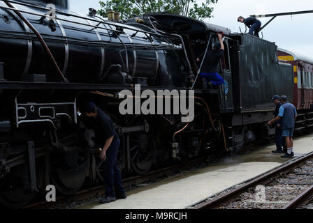 Durban, KwaZulu-Natal, South Africa, male steam train enthusiasts cleaning class 19D vintage locomotive, Inchanga choo-choo, classic rail experience - Stock Photo