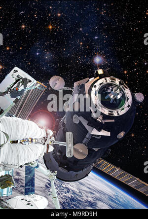 Astronaut in space walk on Soyuz orbital spacecraft, artist expression of   ISS activity. Altered composite from elements image furnished by NASA. - Stock Photo