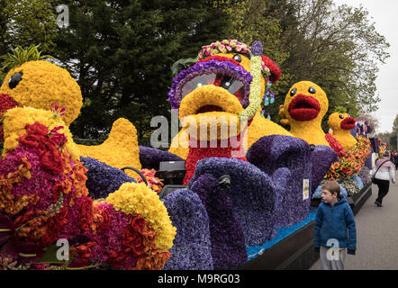 Noordwijkerhout, Netherlands - April 21,  2017: Duck made of colorful flowers at the traditional flowers parade Bloemencorso from Noordwijk to Haarlem - Stock Photo