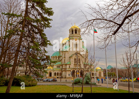 The St. Alexandar Nevski Orthodox Cathedral in Sofia city centre, Bulgaria. - Stock Photo
