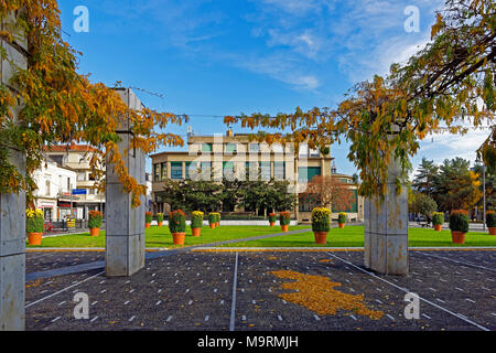 Europe, France, Auvergne, Vichy, Place Charles de Gaulle, Place Charles de Gaulle, flowerpots, post, postal bank, architecture, trees, buildings, plan - Stock Photo