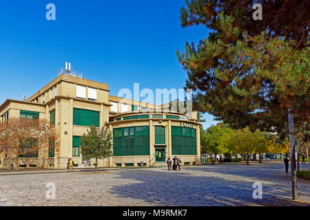 Europe, France, Auvergne, Vichy, Place Charles de Gaulle, post, postal bank, architecture, trees, buildings, people, people, plants, place of interest - Stock Photo