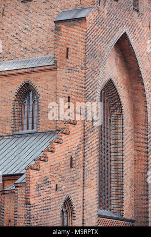 Gothic Sankt Knuds Domkirke (St. Canute's Cathedral) in Odense, Region of Southern Denmark, Denmark. August 21st 2010, built from the end of XIII cent - Stock Photo