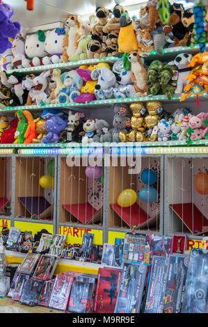STAND ON FUNFAIR, PARIS FRANCE - 10 AUGUST  2014. Stand on a funfair in Paris - Stock Photo
