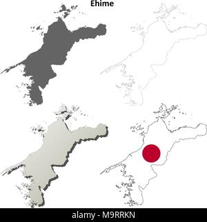 Ehime blank outline map set - Stock Photo