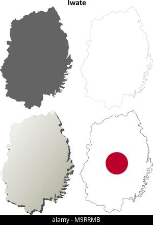 Iwate blank outline map set - Stock Photo