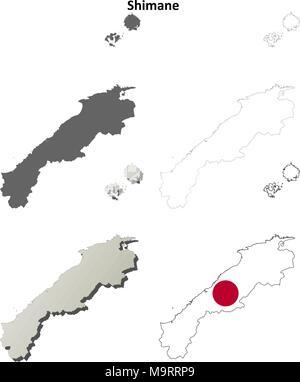 Shimane blank outline map set - Stock Photo