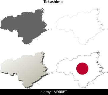 Tokushima blank outline map set - Stock Photo