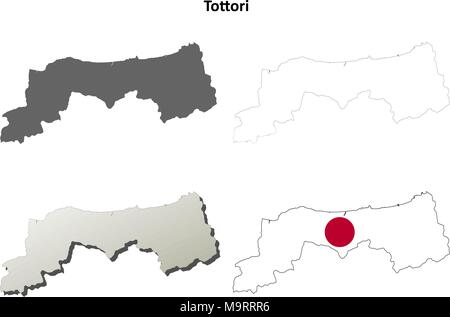 Tottori blank outline map set - Stock Photo