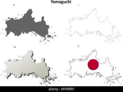 Yamaguchi blank outline map set - Stock Photo