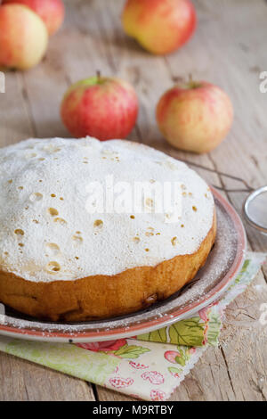 Apple sponge cake cooked in multicooker and dusted with icing sugar on a wooden table - Stock Photo
