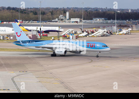 Boeing 757 200 airliner in the colours of TUI Group a German travel and tourism company and largest in Europe - Stock Photo