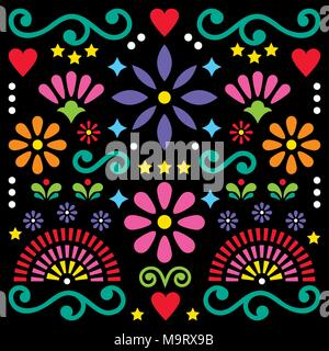 Mexican folk art vector pattern, colorful design with flowers greeting card inspired by traditional designs from Mexico - Stock Photo