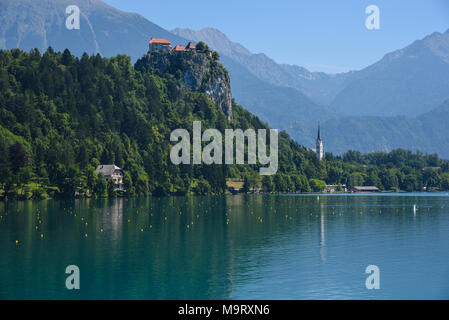 Landscape view of Lake Bled castle in Slovenia - Stock Photo