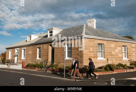 Colonial Georgian sandstone houses in Battery Point, Hobart, Tasmania, Australia - Stock Photo