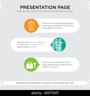 amenities, employee benefits, eliminate presentation design template in orange, green, yellow colors with horizontal and rounded shapes - Stock Photo