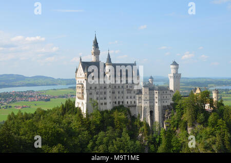 Classic view of world-famous Neuschwanstein Castle in Bavaria, Germany, one of the most visited castles. Fuessen, Schwangau - Stock Photo