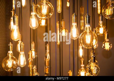 Lighting decor. Old vintage fashion light bulbs. bottom view - Stock Photo