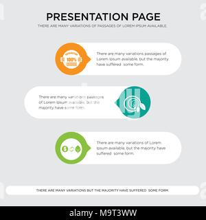 trading co, biodegradable, 100% satisfaction presentation design template in orange, green, yellow colors with horizontal and rounded shapes - Stock Photo