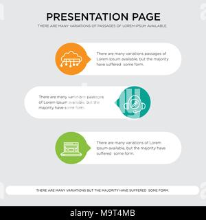 Blocks in browser, Bug fix support, Cloud computing presentation design template in orange, green, yellow colors with horizontal and rounded shapes - Stock Photo