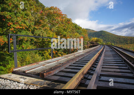 Frankenstein Trestle along the old Maine Central Railroad in Crawford Notch of the New Hampshire White Mountains during the autumn months. Since 1995  - Stock Photo